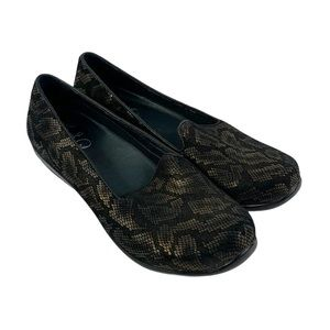 Dansko Olivia Bronze Snake Slip-on Loafer Flat